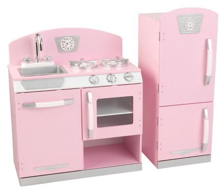 Gift Ideas for 6 Year Old Girls – Pink Retro Kitchen and Refrigerator Play Set